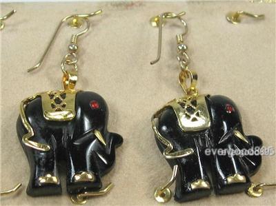 """HANDCRAFTgemstone black onyx GOLDPLATED SETTING ELEPHANT DANGLE EARRING 2"""" image 3"""