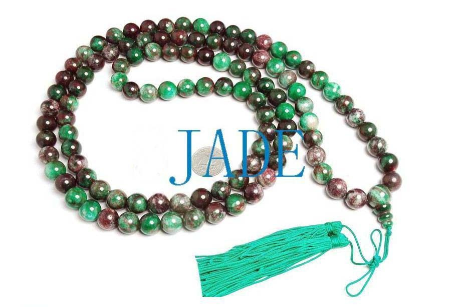 "57"" Tibetan 108 Jade/Serpentine Prayer Beads Mala"