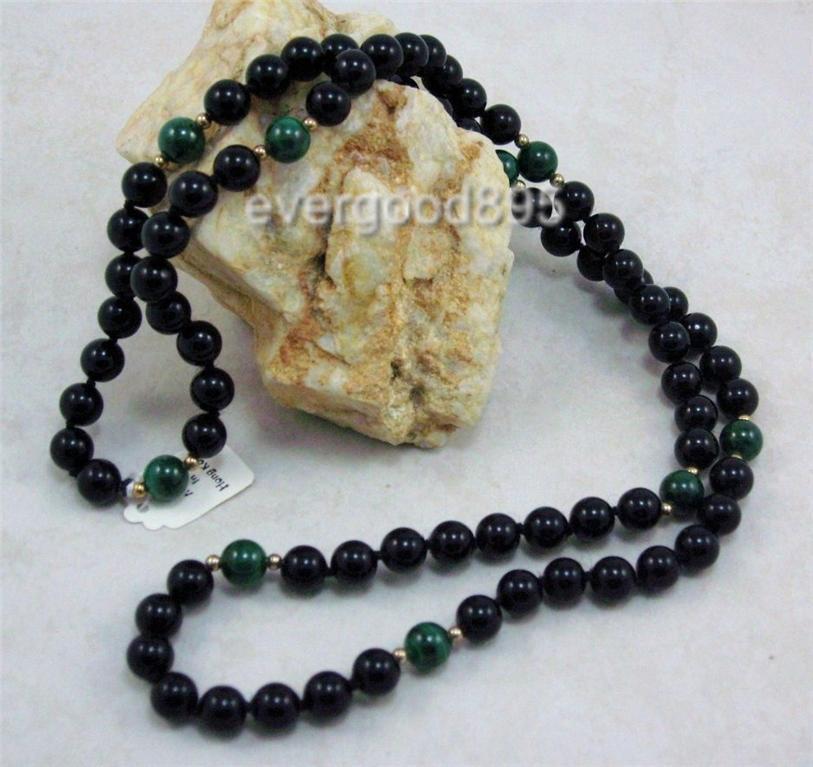 "VINTAGE gemstone onyx Malachite14k knotted necklace 30"""