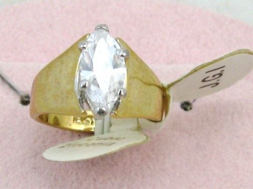 ANTIQUE VINTAGE 18K G.F. 7x12mm C Z COCKTAIL RING sz 6 image 4