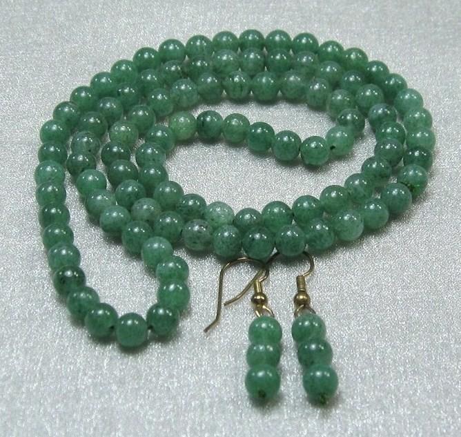 "HANDCRAFT vintage GEMSTONE GREEN JADE 8mm beads KNOTTE NECKLACE earring set 24"""