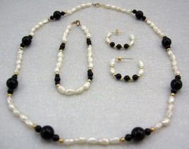 Handcraft Gemstone bl. ONYX  F. W Pearl Necklace BRACELET 14K gold earring SET image 1