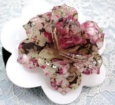 LOVELY PINK ROSE FLOWER RHINESTONE HAIR SCRUNCHIES PONY TAIL image 1
