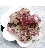 LOVELY PINK ROSE FLOWER RHINESTONE HAIR SCRUNCHIES PONY TAIL - $7.99