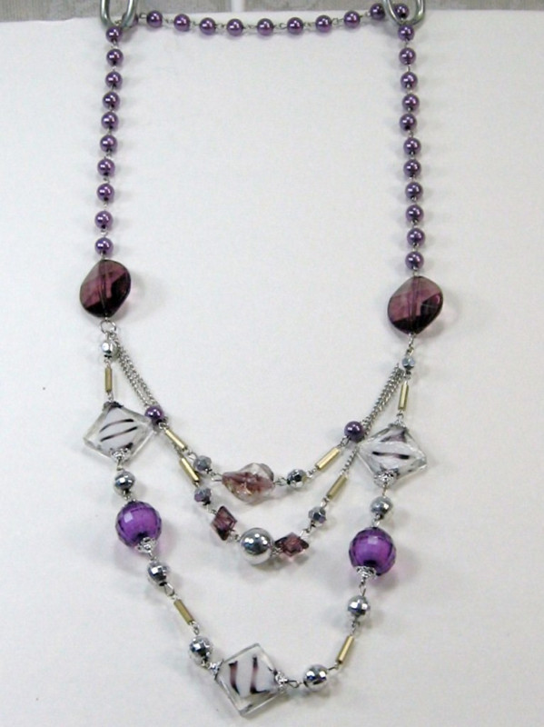 """PURPLE SILVER WHITE BEADS 3 strand LONG NECKLACE 14-17"""""""