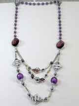 """PURPLE SILVER WHITE BEADS 3 strand LONG NECKLACE 14-17"""" image 1"""