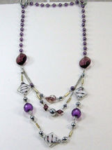 """PURPLE SILVER WHITE BEADS 3 strand LONG NECKLACE 14-17"""" image 2"""