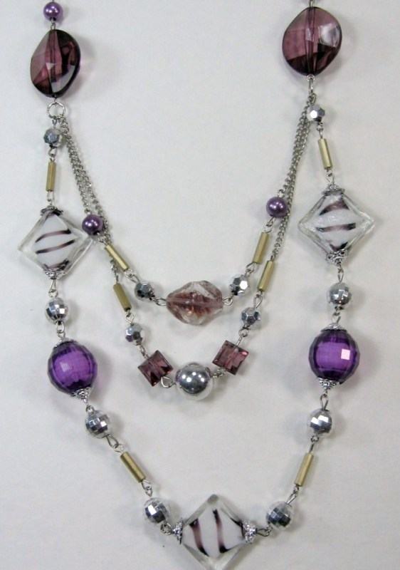 """PURPLE SILVER WHITE BEADS 3 strand LONG NECKLACE 14-17"""" image 3"""