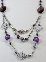 """PURPLE SILVER WHITE BEADS 3 strand LONG NECKLACE 14-17"""" image 4"""