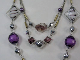 """PURPLE SILVER WHITE BEADS 3 strand LONG NECKLACE 14-17"""" image 5"""