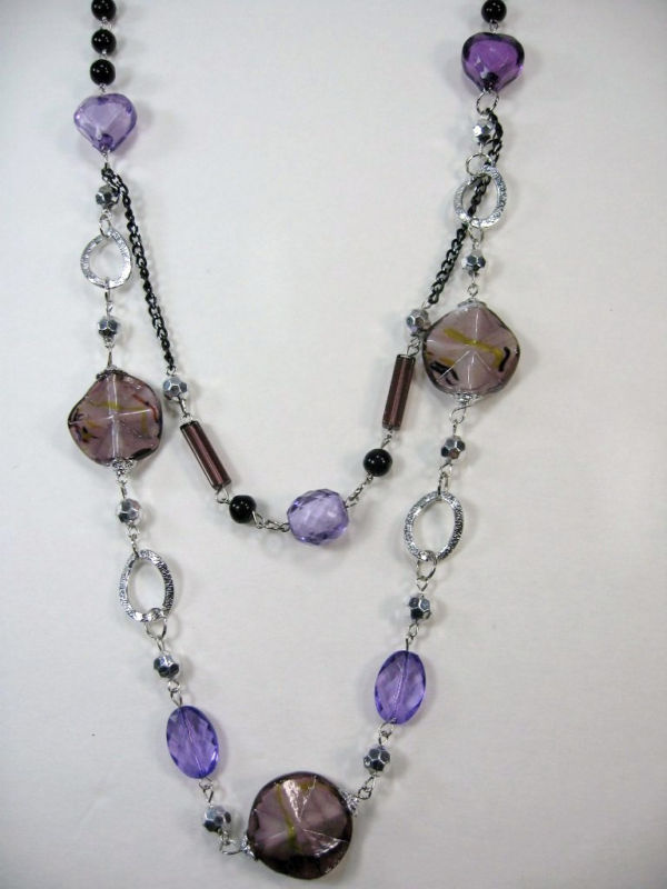 "PRETTY COSTUME JEWELRY BLACK PURPLE SILVER BEADS LAYERS LONG NECKLACE 14-17"" image 2"