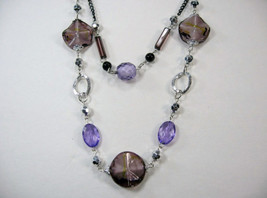 "PRETTY COSTUME JEWELRY BLACK PURPLE SILVER BEADS LAYERS LONG NECKLACE 14-17"" image 3"