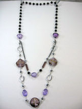 "PRETTY COSTUME JEWELRY BLACK PURPLE SILVER BEADS LAYERS LONG NECKLACE 14-17"" image 4"