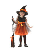 HOT Kids Girls Pumpkim Witch Magic dress Halloween Cosplay Costume Kids ... - £17.20 GBP