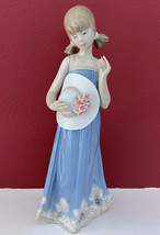 "New Lladro ""Courtney"" 5648 Girl w/ Flowered Hat Holding Flower 8"" Tall Firgurine - $197.99"