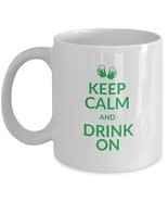 Keep Calm Drink On Mug Beer Mugs Celtic Knots Green Coffee Cup White Cer... - $17.81+