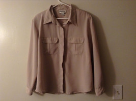 Sophia Women's Size XL Beige Button Down Shirt Utility Style Flap Chest Pockets