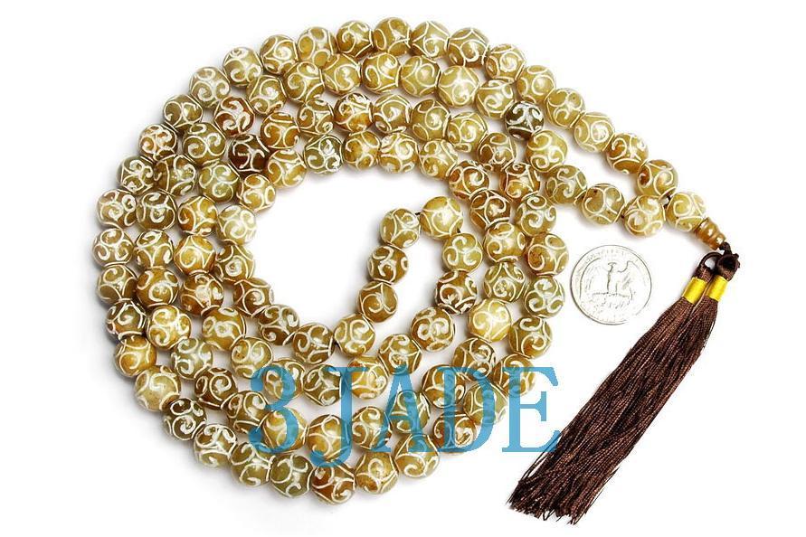 "49"" Hand Carved Tibetan 108 Jade Prayer Beads Mala"