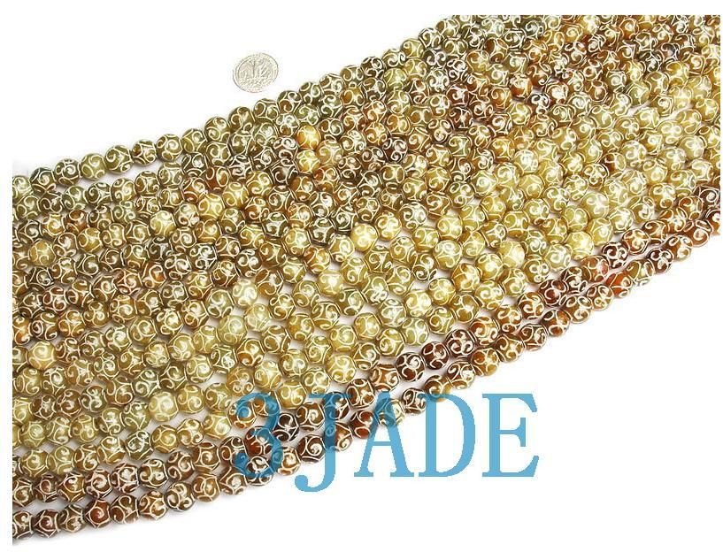 "49"" Hand Carved Tibetan 108 Jade Prayer Beads Mala  image 2"