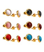 Colorful Opal 6pairs/box Earring Sets Stainless Steel Stud Earring Fashion Jewel - $8.91