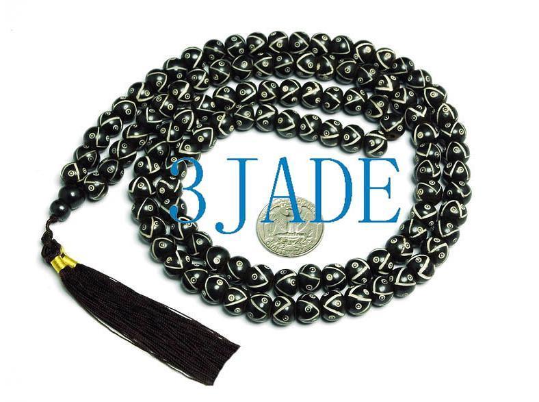 """34"""" Hand Carved Tibetan 108 Bone Prayer Beads Mala"""