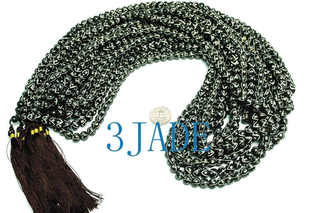 "34"" Hand Carved Tibetan 108 Bone Prayer Beads Mala image 2"