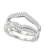 14k White Gold Round Diamond Chevron Wrap Ring Guard Enhancer Wedding Band - $667.98