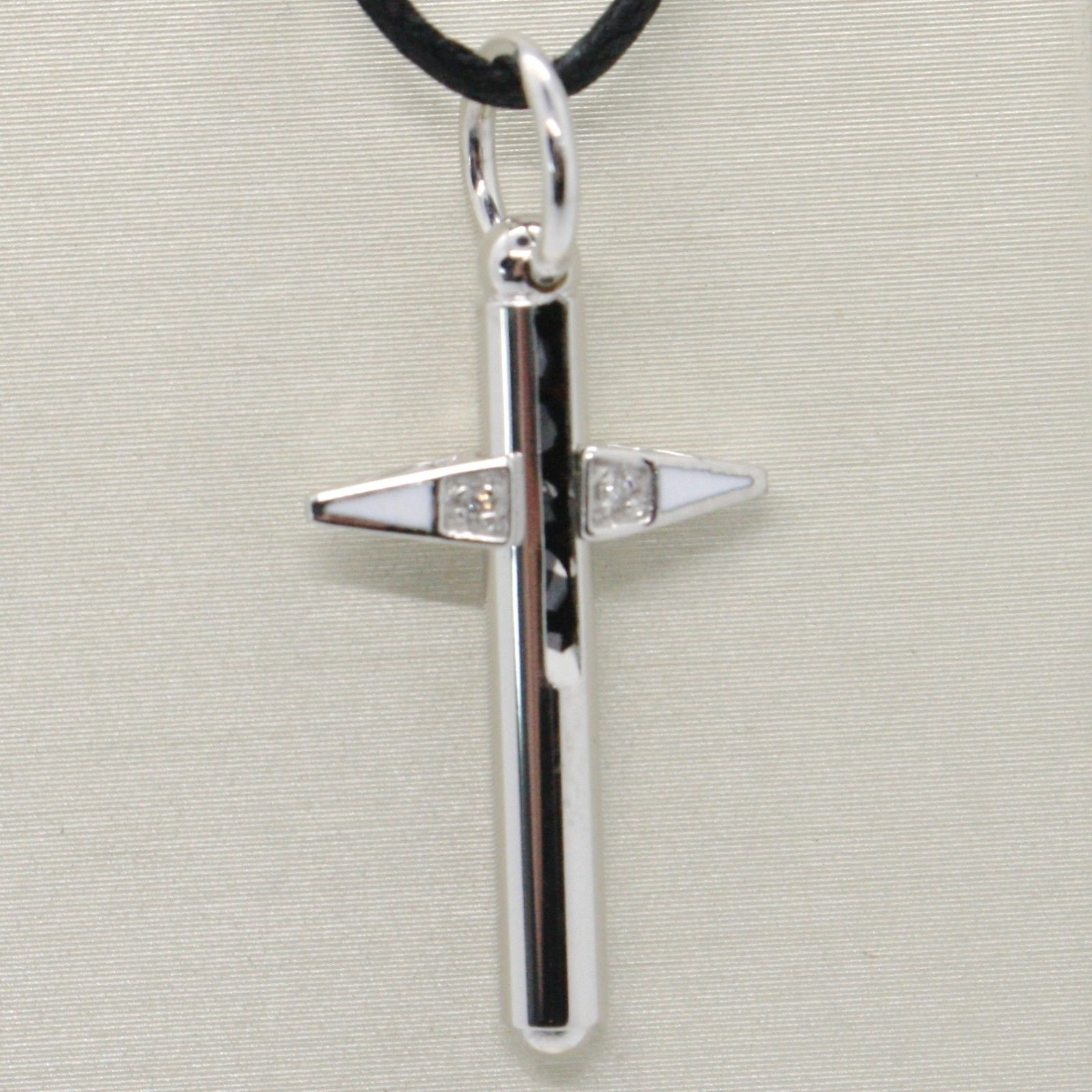 18K WHITE GOLD CROSS WITH DIAMOND, BLACK SPINEL, TUBE, STYLIZED, MADE IN ITALY