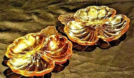 Set of Floragold/Marigold Carnival Glass plates with3 divider Section C... - $59.95