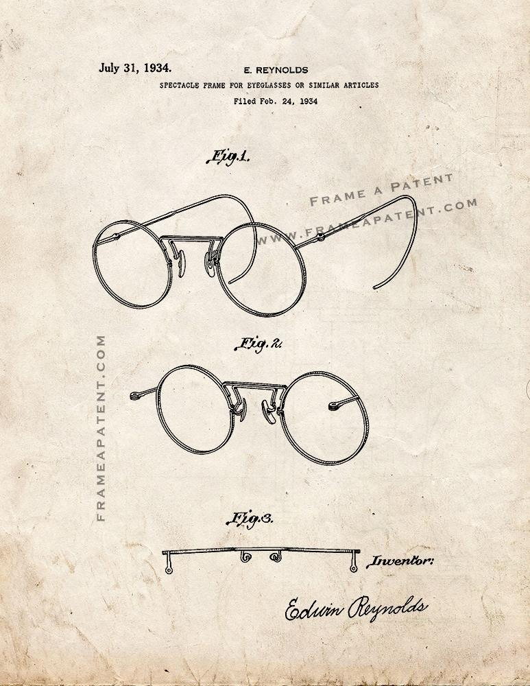 Primary image for Spectacle Frame For Eyeglasses Patent Print - Old Look