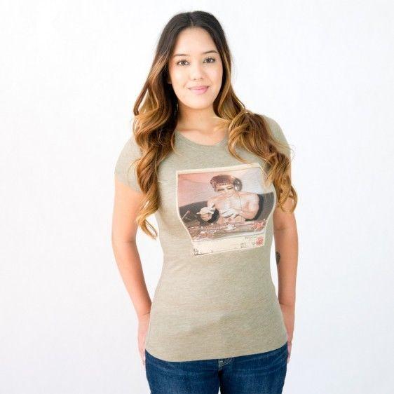 Bruce Lee DJ Womens T shirt Olive Green Small Rare!!!!