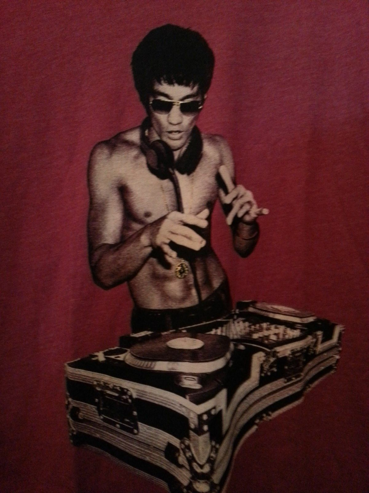 Bruce Lee DJ T shirt Brick Red Small, Medium, Large or Xlarge Special Edition image 3