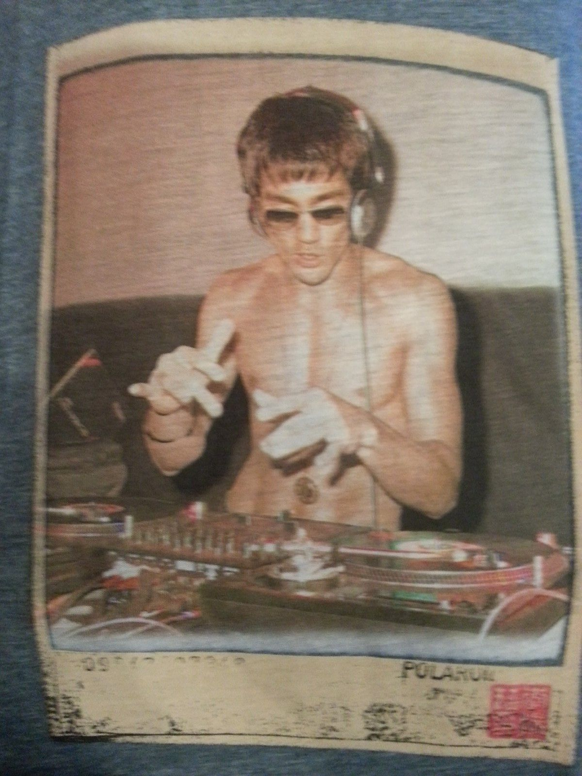 Bruce Lee DJ Womens T shirt heather blue Small or Large Rare!!!! image 4