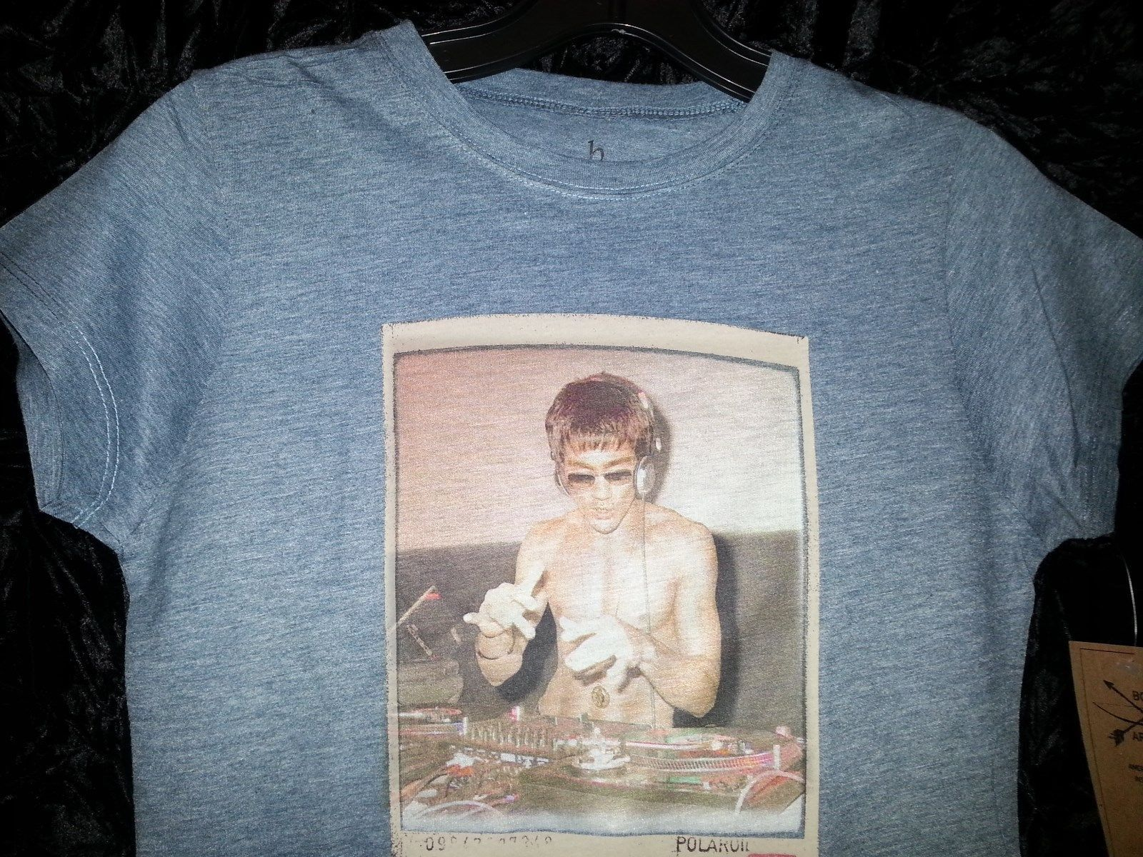 Bruce Lee DJ Womens T shirt heather blue Small or Large Rare!!!! image 6