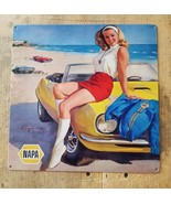 Vintage Napa ad pin up girl on a muscle car metal sign - $22.75