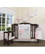 Gray Pink Deer Floral 13 pc Crib Bed Set Baby Girl Nursery Quilt Bumper ... - $168.29