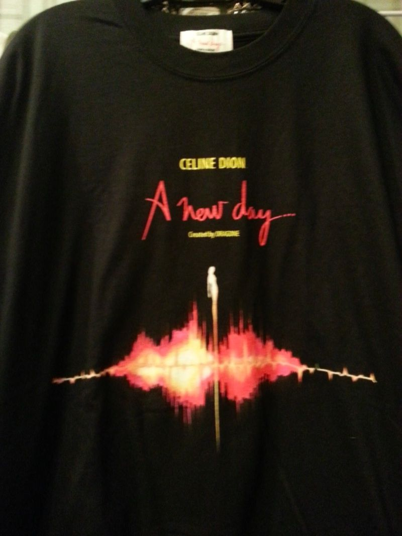 """Celine Dion """"A new day"""" created by dragone T shirt black XL"""