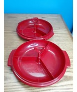 Lot of 2 Tupperware #608 Red SUZETTE 3 SECTION CONTAINER with Handle (no... - $14.80