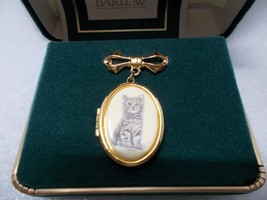 Vintage Barlow Goldtone Kitten Locket Pin Brooch - $15.00