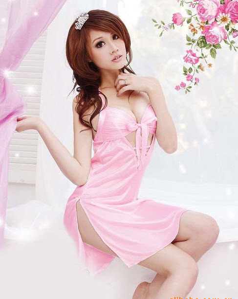 8114 Sexy satin dress with tie bra, g-string, ,Free size, fit to s/m/l, pink image 3