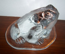 VIKING  ART GLASS  TOAD FROG ON LILY PAD PAPERWEIGHT image 6