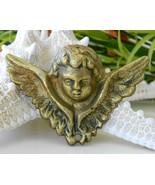 Vintage Brass Angel Head Wings Guardian Wall De... - $12.95
