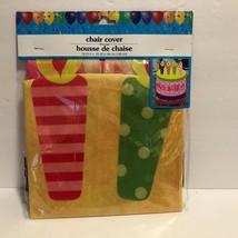 NIP HAPPY BIRTHDAY CHAIR COVER Yellow Pink Green Cake  FUN - $4.89