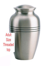 Pewter Color, Adult Funeral Cremation Urn w. Box, Assorted Sizes Available image 1