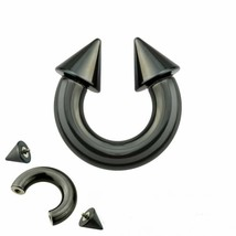 "Horseshoe Heavy 12 Gauge 3/8"" w/Spikes 4mm Internal Thread Titanium Blac... - $6.99"