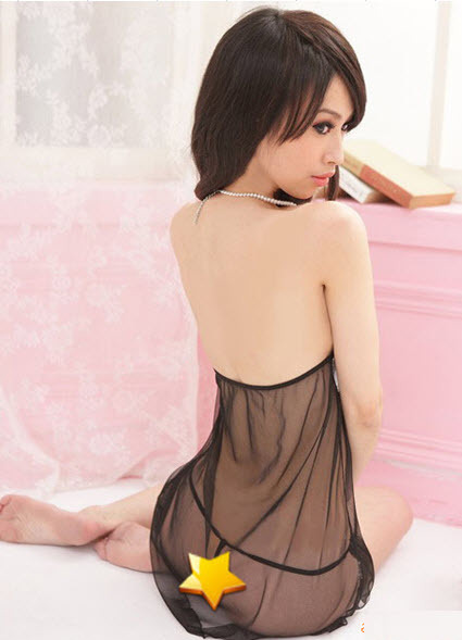 8116 Sexy neck halter sheer net dress w open bust,free size, fit to s/m/l, black