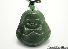 Fortune Natural Burma Green Smiling Buddha Jade Pendant image 1
