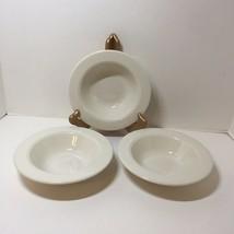 3 Rimmed Cereal Bowls Homer Laughlin White Seville Restaurant Ware Cream  - $19.34