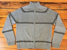 Kenneth Cole Gray Knit Cotton Wool Blend Long Sleeve Zip Sweater Cardiga... - $20.99