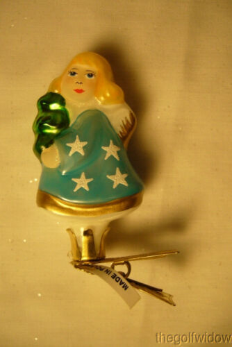 Vaillancourt Folk Art Hand Blown Glass Clip Ornament Angel